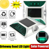 2PCS 6LED Solar Power Ground Marker Road Stud Driveway Light Outdoor Waterproof