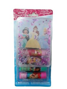 💋 NEW DISNEY Princess 5 x Lip Balm Gift Set with Floating Glitter Plastic Box💄