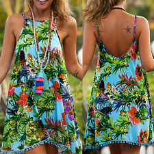 Bohemian Women Lady Summer Floral Sleeveless Beach Casual Evening Party Dress L
