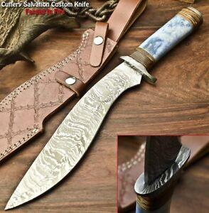 Handmade Damascus Steel Blade Kukri Hunting Knife | CAMEL BONE
