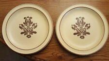 """Lot 2 PFALTZGRAFF Vintage VILLAGE SALAD/DESERT PLATE 7 1/8"""" Stoneware Beige Brn"""