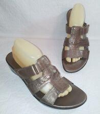 CLARKS BENDABLES Ella Celtic 60487  11 M Pewter Metallic Leather Wedge Sandals