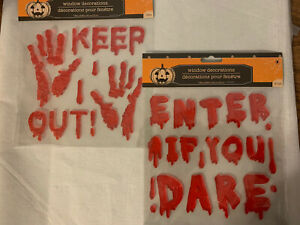 Set of 2 NEW HALLOWEEN 19 & 21 pc Red Bloody Hands Window Gel Clings Decorations