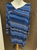 New Chico's Travelers Blue & White Sky Weaves Asymmetrical Top Sz 3 XL 16 18 NWT
