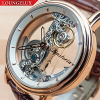 NEW Mens Classic Flywheel Leather Band Luxury Bling Skeleton Mechanical Watch
