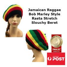 Unisex Jamaican Reggae Rasta Stretch Beret Bob Marley Style Slouchy Beanie Hat