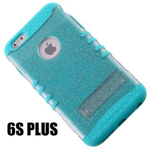 For iPhone 6+ / 6S+ Plus -HYBRID IMPACT ARMOR CASE COVER BLUE CLEAR GLITTER