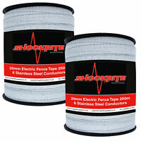 Electric Fence Tape 2 x 200m x 20mm ShockRite White Fencing (400m)