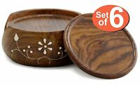 Wood Coasters with Holder For Tea Coffee Cup Mug Beverage Glass Drink Mat Decor