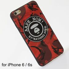A Bathing Ape Bape Aape Red Camo Hard Cover Silicone Case iPhone 6 / 6s