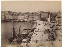 Marsiglia il Vecchio Port Foto Neurdein Vintage Albumina Ca 1880