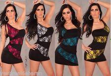 Miniabito Vestitino Donna Abito Vestito Monospalla Bodycon 2311-A883 Tg Unica