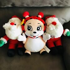 Dog Plush  Set Of 3 Toys 2 Santa Claus And 1 Bumble Bee