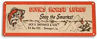 Devils Horse Lures Fishing Boat Bait Retro Box Rustic Fish Decor Metal Sign