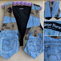 Jane Harel Made In USA Wearable Art Patchwork Levi's Pockets Hot Air Balloon M/L
