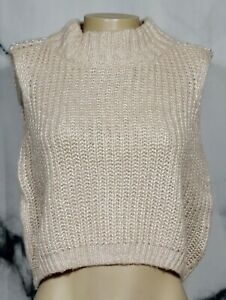 JLO JENNIFER LOPEZ Pearl Beige Cropped High Collar Sweater Medium Chain Accent
