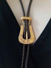 Bolo Tie Belt Buckle Style Weaved Faux Leather Gold Tone Flower Mens Wear Rope