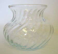Clear Glass Swirl Vase 4 Inch Tall Vintage Squatty Shape Floral Use