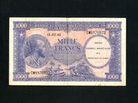 Congo Dem. Rep.:P-2,1000 Francs,1962 * African Man * VF *