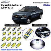 8 Bulbs LED Interior Dome Light Kit Cool White For 2007-2013 Chevrolet Avalanche