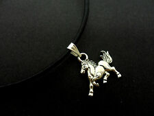 "A LADIES BLACK LEATHER CORD 13 - 14"" CHOKER HORSE/PONY CHARM  NECKLACE. NEW."
