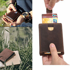 2019 Genuine Leather Brown Slim Wallet RFID Credit Bank Card Holder Money Clip