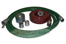 """3"""" Green FCAM x MP Water Suction Hose Trash Pump Complete Kit w/25' Red Dis"""