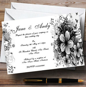 Black White Flowers Butterfly Personalised Wedding Invitations