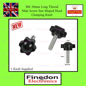 M8 30mm Thread Male Star Screw Shaped Fixing Clamping Knob UK Seller