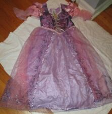 Disney Store Tangled Rapunzel Costume Dress Girls Size 10 L & Crown Braid Hair