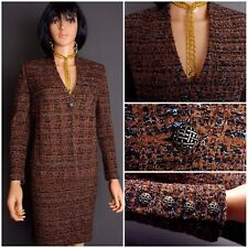 NEW STUNNING ST.JOHN TWEED KNIT SKIRT SUIT,BROWN-MULTI, SZ 8, CHIC!