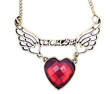 Vintage Art Deco style bronze angel wings with love message and heart necklace