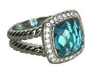 Designer Inspired Sterling Silver Albion Ring 11mm with Blue Topaz and Diamonds