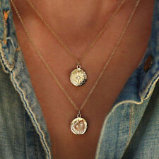 Ladies Double Layered Necklace Charm Chain Coin Pendant Choker Jewelry Gift