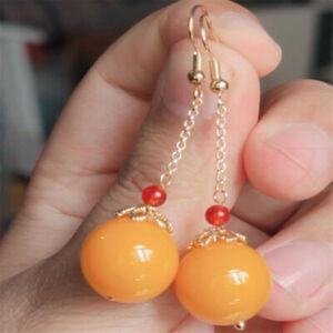 Natural yellow jade Earrings Dangle 18KGP Chain girl gift Christmas Mother's Day