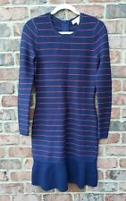 NWT MICHAEL KORS NAVY/RED STRIPED SHIFT FORM FITTED L/S SWEATER DRESS $198 M