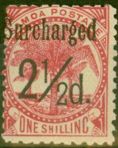 Samoa 1898 2 1/2d on 1s Dull Rose-Carmine SG86 Fine Mtd Mint (5)