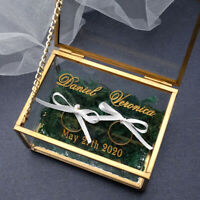 Personalized Wedding Ring Box Engagement Ring Bearer Box Glass Proposal Ring Box