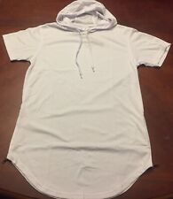 Bleeker & Mercer Long Fit Short Sleeve White Hoodie w/Side Zippers Size M NWT
