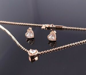 New! Authentic PANDORA Elevated Heart Rose Gold Necklace Earrings Set s925 ALE