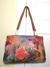 New w/ Tags ANUSCHKA Hand-Painted Brown Leather Handbag Shoulder Bag #7008-ANH