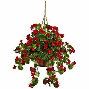 Nearly Natural 6857-RD Geranium Hanging Basket UV Resistant Red10.125'' x 29'...