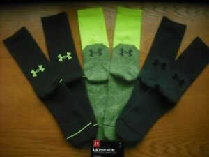 Mens NWT Under Armour Crew Socks 3prs Neon Yellow UA PHENOM Arch Support Sz:L