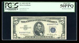 DBR $5 1953 Silver Fr. 1655 BA Block PCGS AU-50 PPQ Serial B83587774A