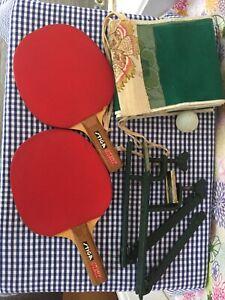 Vintage Table Tennis complete set / X 2 vintage Stiga Jet paddle/bats. Ball