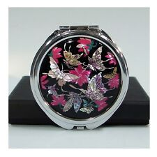 Mother of Pearl Black Butterfly Flower Makeup Handbag Purse Compact Hand Mirror