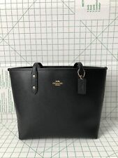 Coach F58846 Crossgrain Leather Zip Top City Tote Shoulder Bag in Black