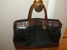 Vintage BRAHMIN Tuscan Black and Brown Leather Handbag