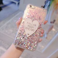 3D Luxury Bling Flowing Liquid Love Glitter Soft Side Hard Back Phone Case Cover
