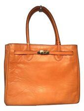 Francesco Rogani Vintage Orange Leather Kelly Bag Tote